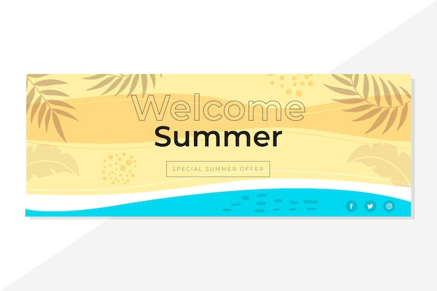 Facebook summer cover template Free Vector