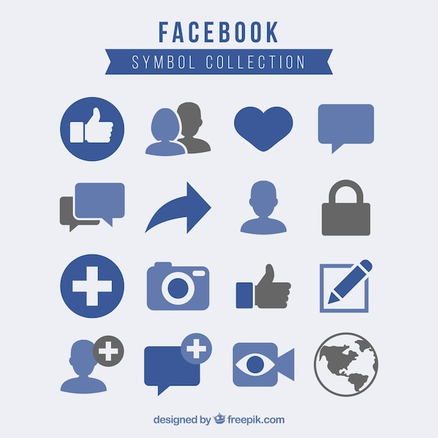 Facebook symbol collection Free Vector