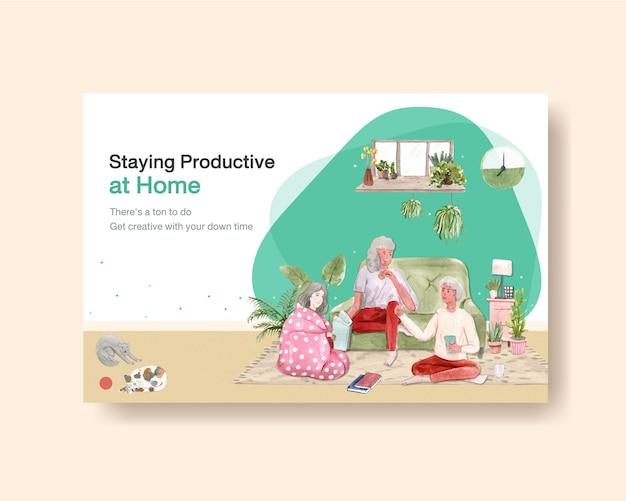 Facebookテンプレートのデザインは、人々のキャラクターとインテリアルームの水彩イラストの家のコンセプトにとどまる 無料ベクター