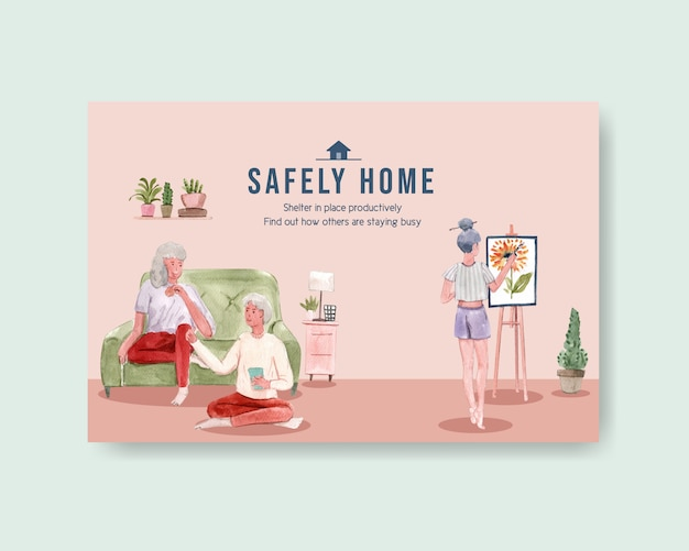 Facebook template design stay at home concept  woman drawing with family  and interior room watercolor illustration Free Vector