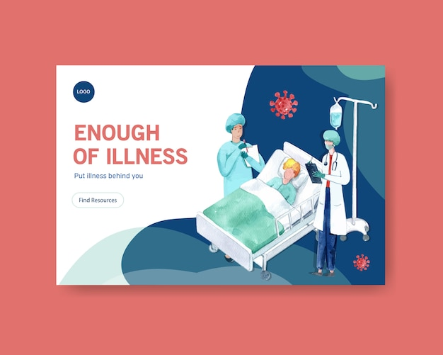 Facebook template illnesses concept design with people and doctor characters infographic symptomatic watercolor illustration Free Vector