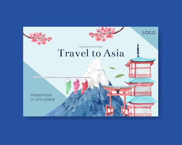 Modello di facebook con concept design di viaggio in asia per social media e illustrazione vettoriale acquerello di marketing digitale Vettore gratuito