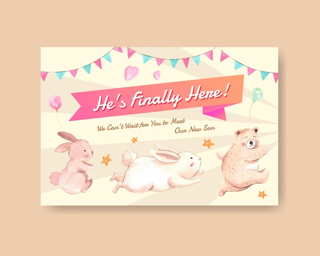 Facebook template with baby shower design concept for social media and online marketing watercolor vector illustration. Free Vector