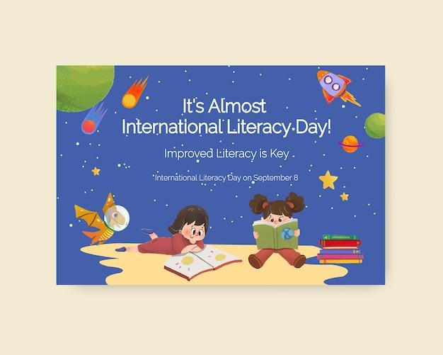 Modello di facebook con concept design della giornata internazionale dell'alfabetizzazione per il marketing online Vettore gratuito
