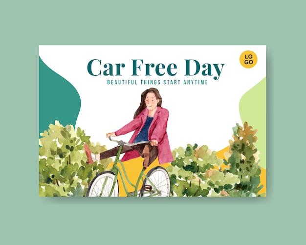 ソーシャルメディアとインターネットの水彩画のための世界車無料の日コンセプトデザインのfacebookテンプレート。 無料ベクター