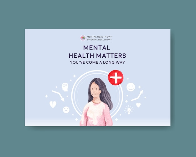 Facebook template with world mental health day concept design for social media and online marketing watercolor vector illustraion. Free Vector