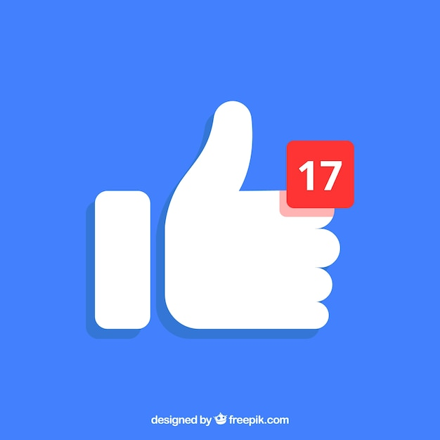Facebook thumb up background with notification Free Vector