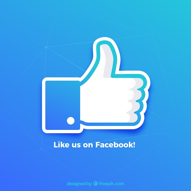 Facebook thumb up like background in gradient colors Free Vector