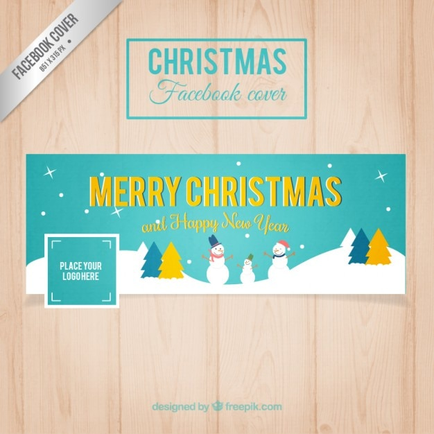 Facebook Turquoise Christmas Cover Free Vector