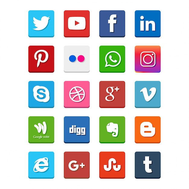 Популярные значки социальных сетей, такие как: facebook, twitter, blogger, linkedin, tumblr, myspace и другие, напечатаны на белом фоне Premium векторы