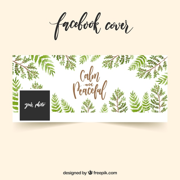 Facebook vintage cover with watercolor leaves