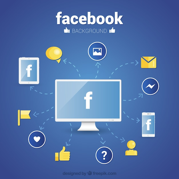 Facebook wallpaper with icons in flat design Free Vector