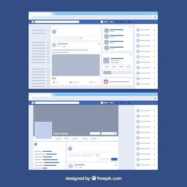 Interfaccia web di facebook con design minimalista Vettore gratuito