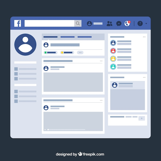 Facebook web interface with minimalist design Vector | Free Download