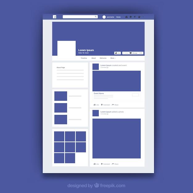 Веб-интерфейс facebook с минималистским дизайном Бесплатные векторы