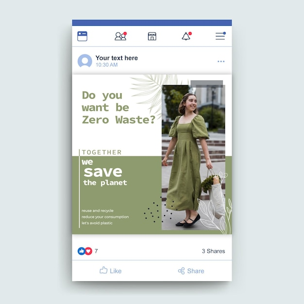 Шаблон сообщения о нулевых отходах в facebook Бесплатные векторы