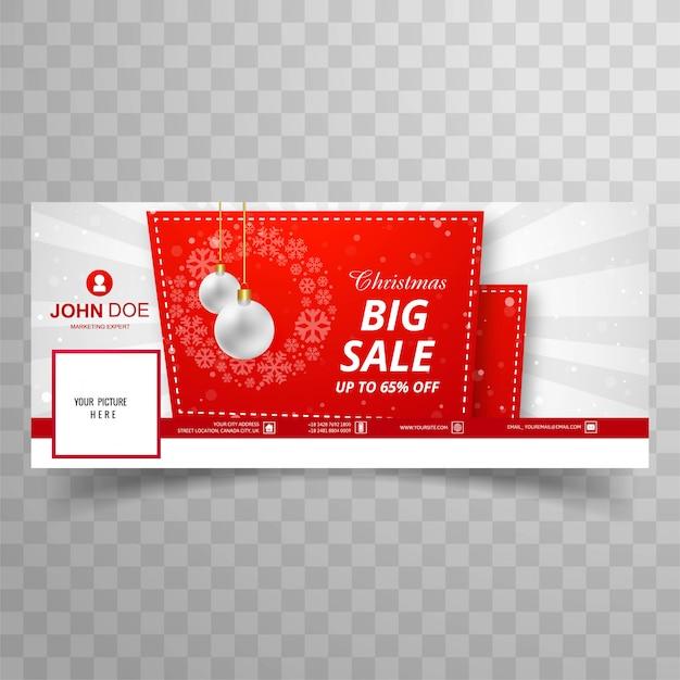 Счастливого рождества карты с facebook большой продажи баннер шаблон дизайн Premium векторы