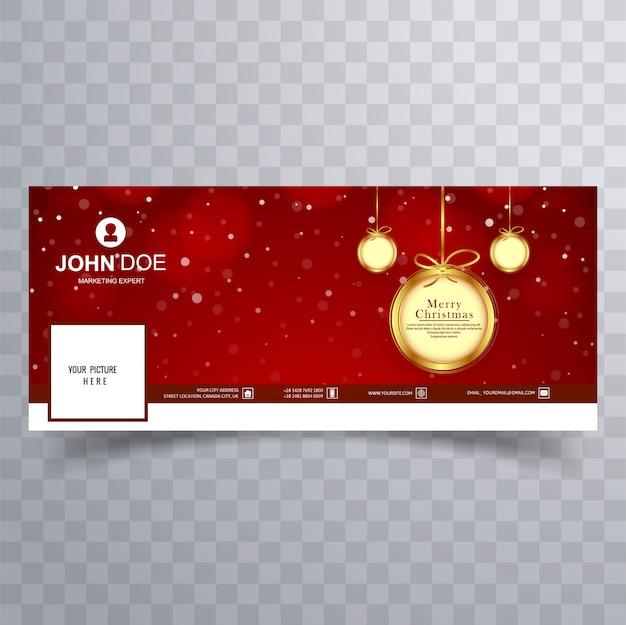 Веселый рождественский бал с дизайном баннера facebook Premium векторы