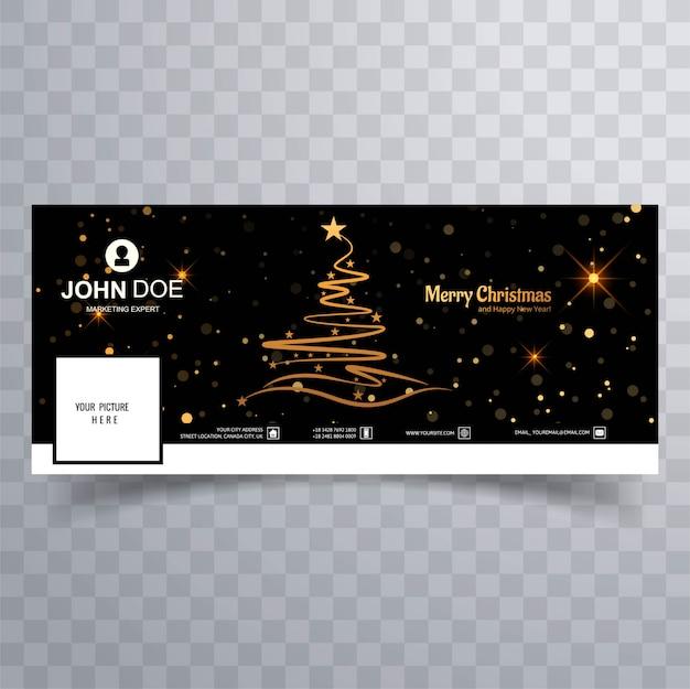 Facebookのバナーカラフルなテンプレートとメリークリスマスツリー 無料ベクター