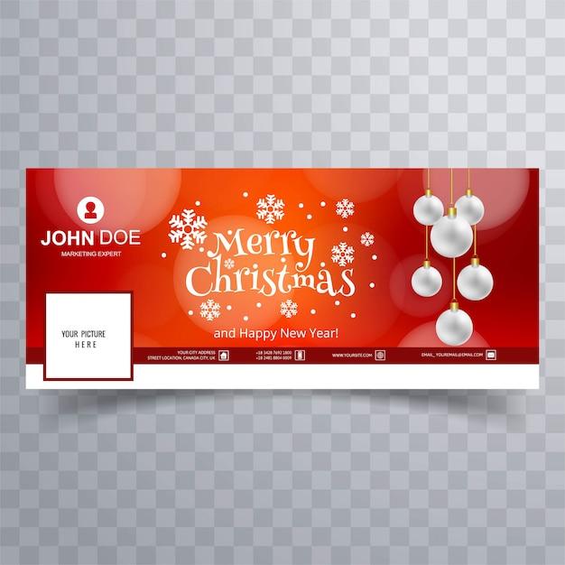 Красивая веселая рождественская снежинка с шаблоном баннера facebook Premium векторы
