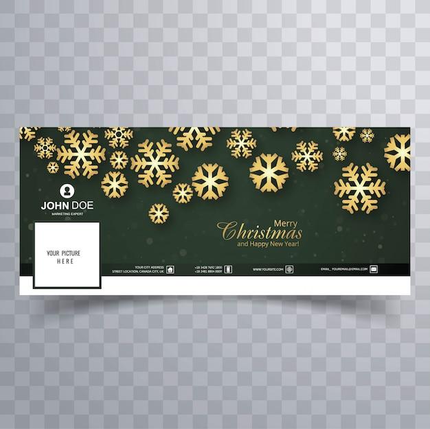 Красивая веселая рождественская снежинка с шаблоном баннера facebook Бесплатные векторы