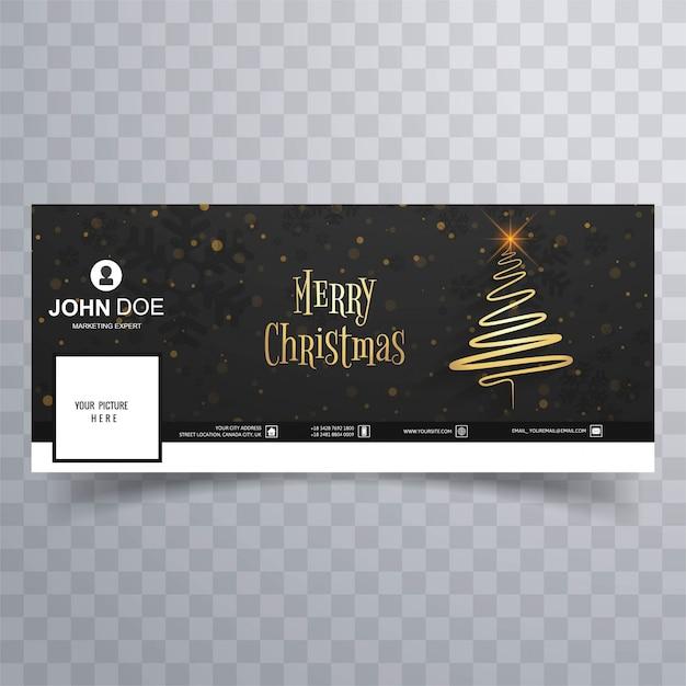 Веселая рождественская открытка с шаблоном обложки facebook Premium векторы
