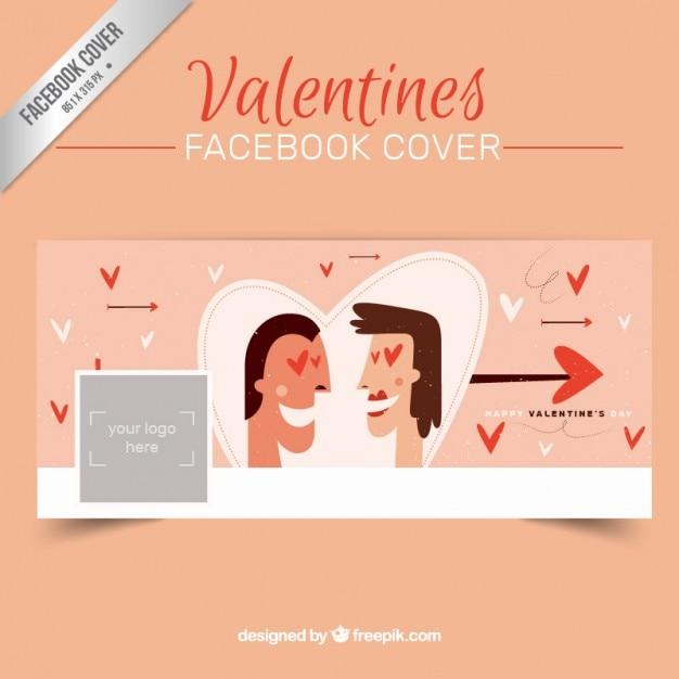 バレンタインデーのカップルのfacebookのカバー 無料ベクター