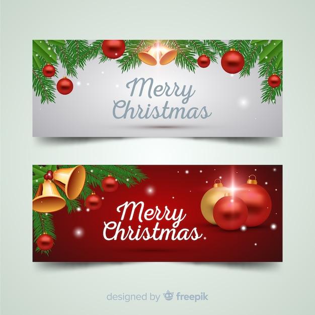 Прекрасный рождественский баннер facebook Бесплатные векторы