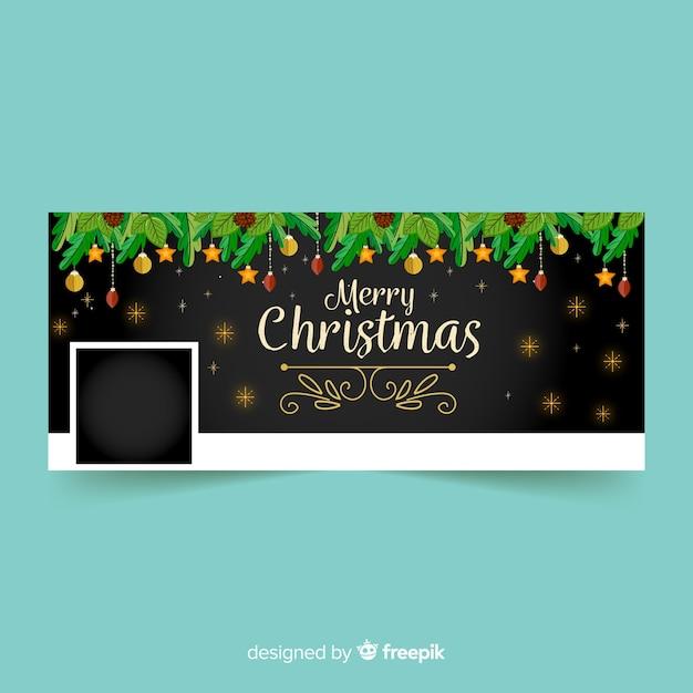 Рождественская обложка для facebook Бесплатные векторы