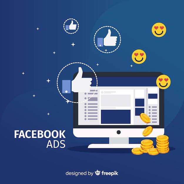 Плоская реклама в facebook Бесплатные векторы