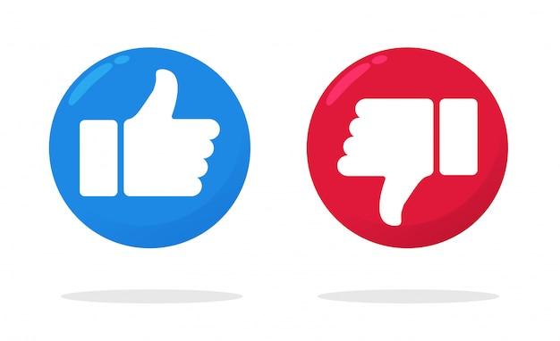 Большой палец вверх и большой палец вниз значок, который показывает, что нравится или не нравится в facebook Premium векторы