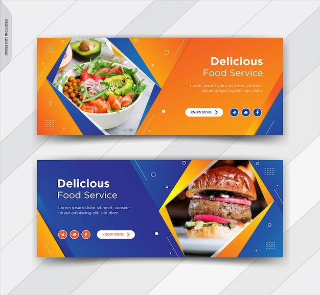 バーガーfacebookカバーソーシャルメディア投稿バナーデザイン Premiumベクター