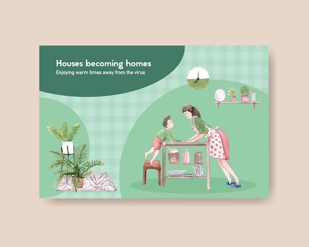 Концепция дизайна шаблона facebook остается дома с характером матери и сына в иллюстрации акварели комнаты Бесплатные векторы