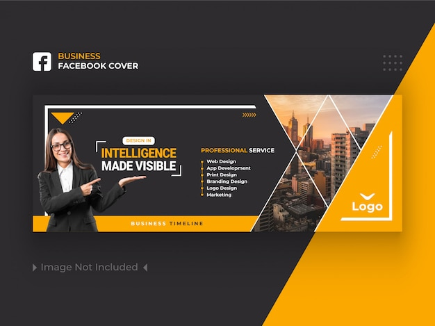 黄色のビジネスfacebookカバーバナーデザインプレミアム Premiumベクター