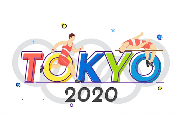 Faceless athlete man high jump crossbar with runner character on tokyo 2020 letteirng Premium Vector