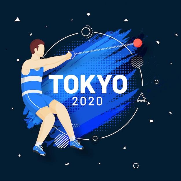 Человек безликого спортсмена выполняя метание молота и мазок кисти эффект полутонового изображения синий фон, олимпийские игры 2020. Premium векторы