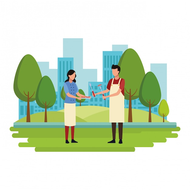 Faceless couple cooking barbecue food Premium Vector