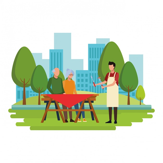 Faceless grandparents barbecue table Premium Vector