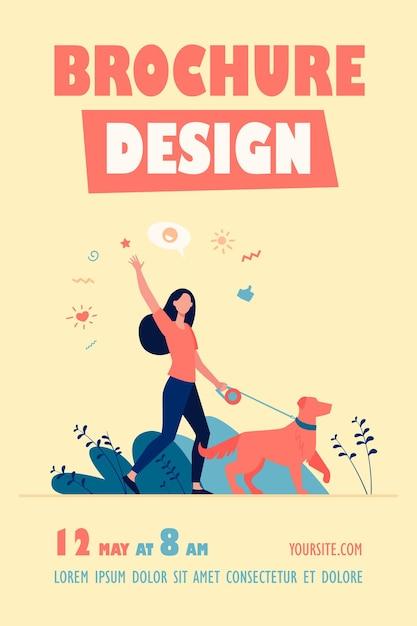 고립 된 공원 전단지 서식 파일에서 강아지와 함께 산책하는 익명의 행복 한 여자 무료 벡터