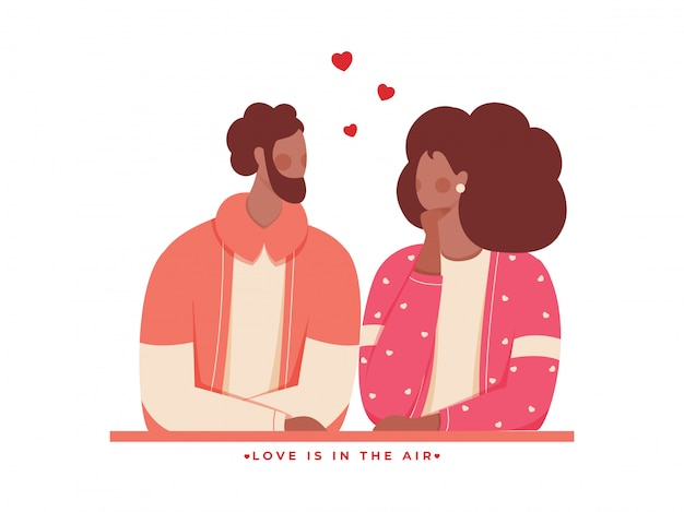 Faceless loving couple character and given message as love is in the air Premium Vector