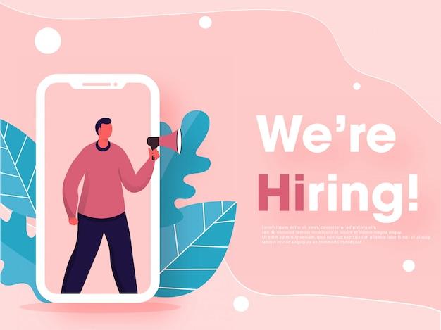Объявление о вакансии безликого человека онлайн на экране смартфона с листьями на пастельно-розовом Premium векторы