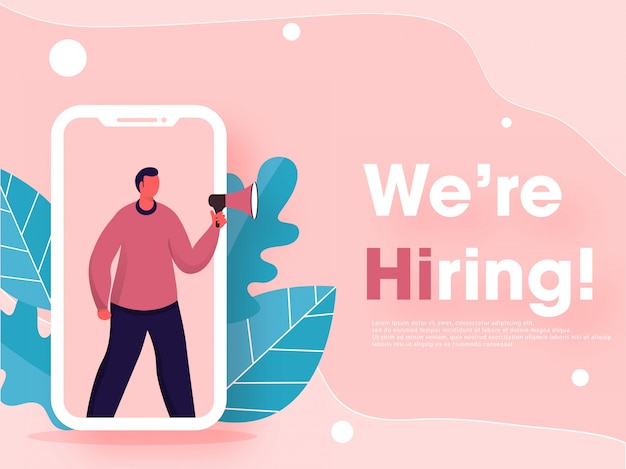 Faceless man online job vacancy announcement in smartphone screen with leaves on pastel pink Premium Vector