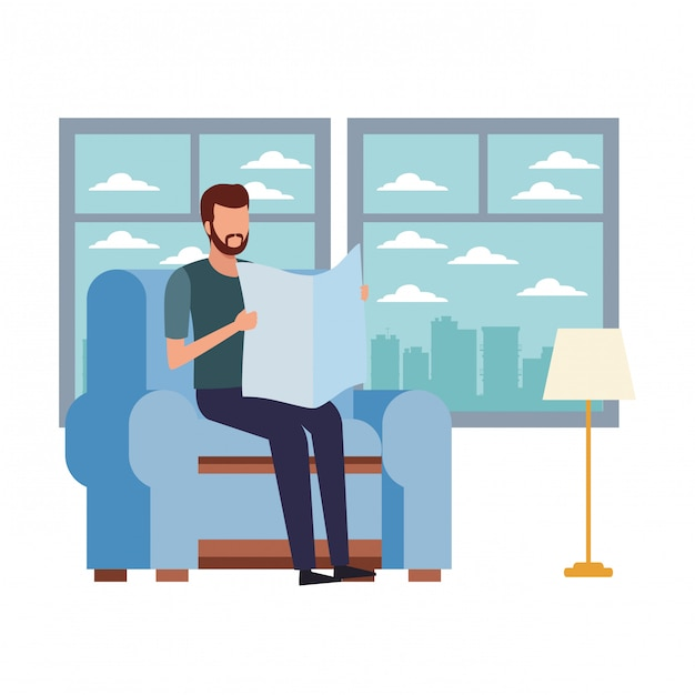 Faceless man reading and chair Premium Vector