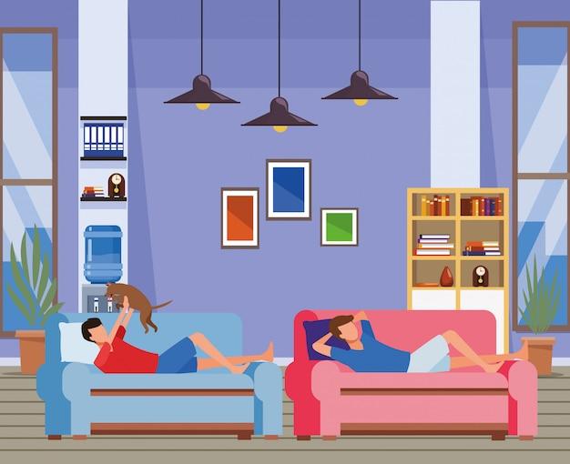 Faceless men and dog living room sofa Premium Vector