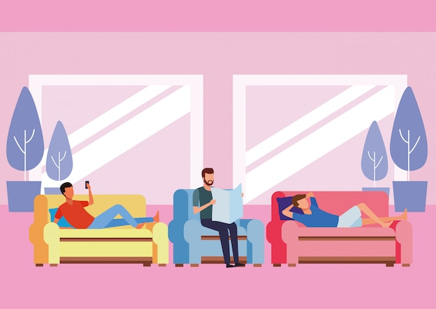 Faceless people relax living room Premium Vector