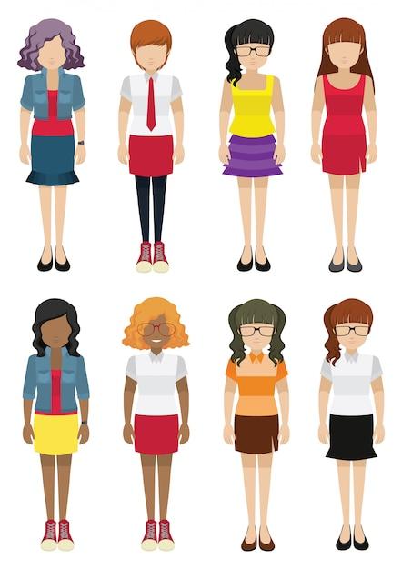 Modello di donne senza volto Vettore gratuito