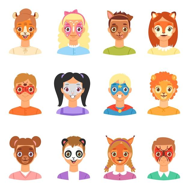 フェイスペイントキッズベクトル子供の肖像画の顔の塗られた化粧とカラフルな動物的facepaint猫犬のパーティーイラストセット分離の女の子や男の子のキャラクター Premiumベクター