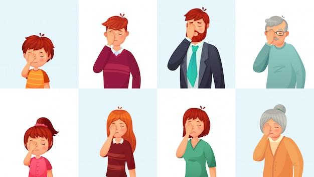 Facepalmジェスチャー、失望した人々は顔を恥ずかしくさせ、手のひらの後ろに顔を隠し、漫画を恥じる Premiumベクター