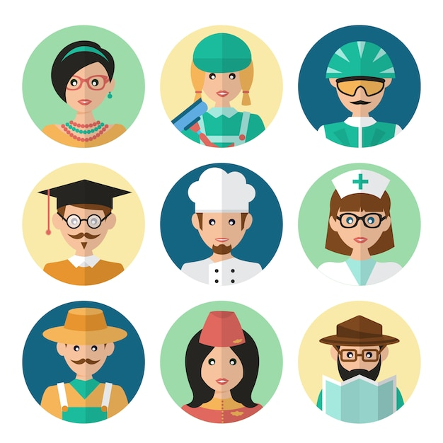 Faces avatar icons Free Vector