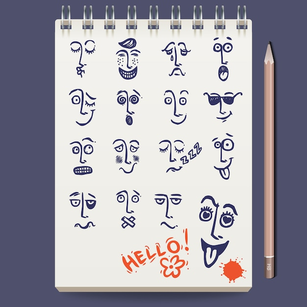 Faces characters sketch Free Vector